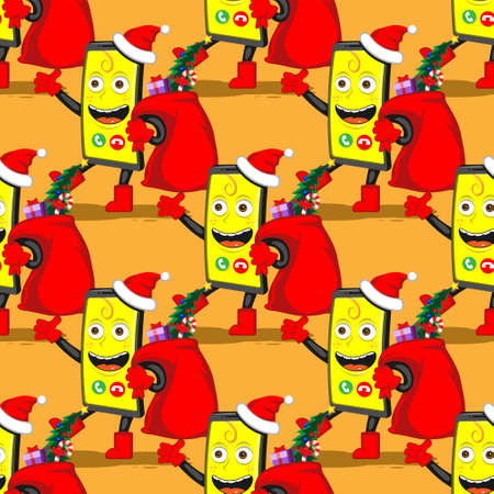 seamless pattern funny cartoon smartphone with a bag of Christmas gifts on a white isolated background.