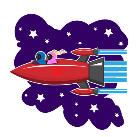 A space rocket is flying with people in love on a white isolated background. Vector image eps 10