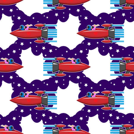 seamless pattern rocket people love space on white background.