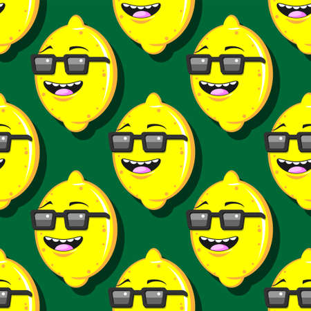 seamless lemon cartoon pattern with glasses on a green background. Stock Illustratie