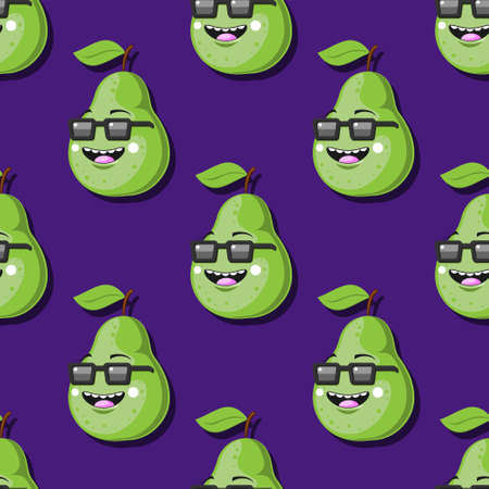 seamless green pear pattern cartoon character with glasses smile on purple background.