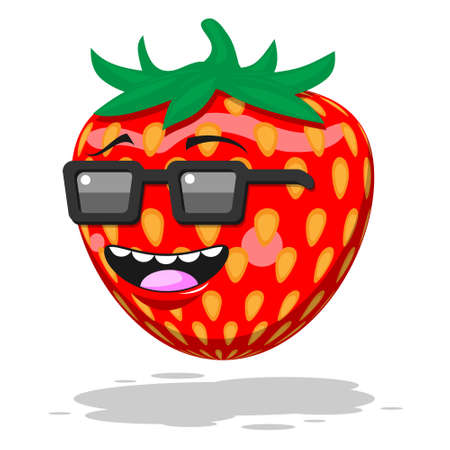 Cartoon character strawberry with glasses smile on white isolated background. Vector image eps 10 Stock Illustratie