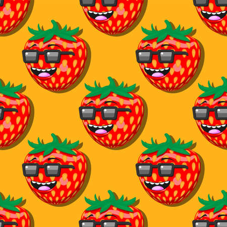 seamless strawberry cartoon pattern with glasses smile on orange background.