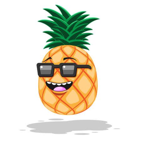 Cartoon pineapple in sunglasses smile on white isolated background. Vector image eps 10 Stock Illustratie