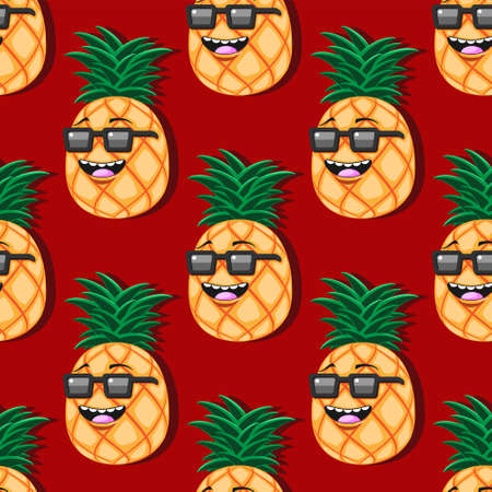 seamless pineapple cartoon pattern with glasses on red background. Stock Illustratie