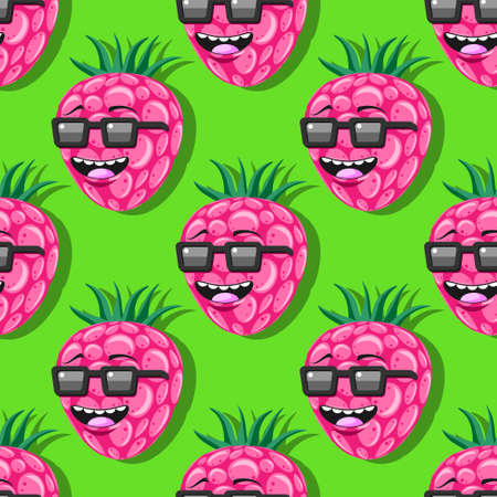 seamless pattern cartoon character raspberry with glasses on green background. Stock Illustratie