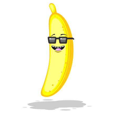 Cartoon banana in sunglasses smiling on white isolated background. Vector image eps 10