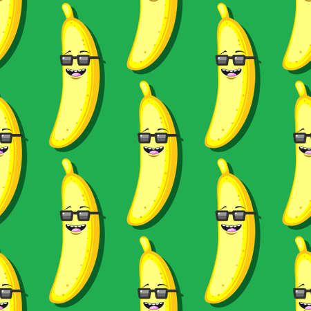 seamless cartoon banana pattern in sunglasses on green background.