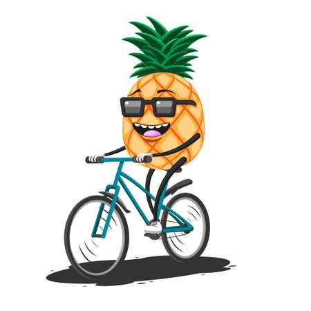 Cartoon pineapple in sunglasses riding a Bicycle on a white isolated background. Vector image eps