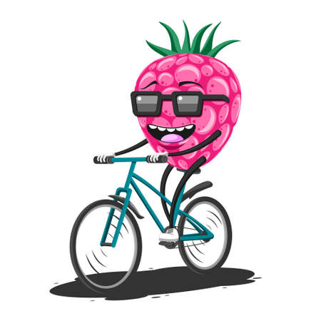 Cartoon raspberry in sunglasses riding a Bicycle on a white isolated background. Vector image Stock Illustratie
