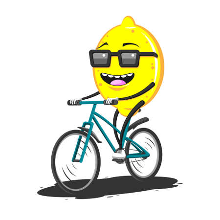 cartoon lemon in sunglasses riding a Bicycle on a white isolated background. Vector image Stock Illustratie