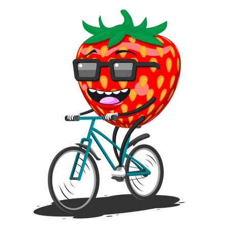 Cartoon strawberry in sunglasses riding a Bicycle on a white isolated background. Vector image eps Stock Illustratie