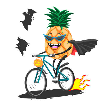 Cartoon pineapple in sunglasses raincoat on Bicycle rides with basket for Halloween, vector image eps