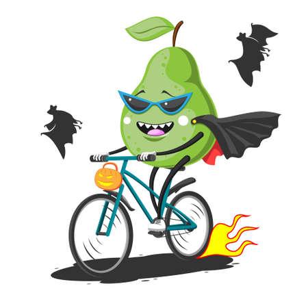 Cartoon green pear in sunglasses raincoat bat on bike rides Halloween, vector image eps