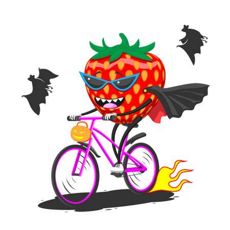 Cartoon ripe strawberry in sunglasses raincoat bat on bike rides Halloween, vector image eps
