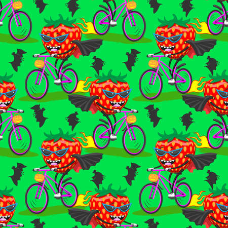 seamless pattern of ripe strawberries in sunglasses raincoat bat on bike rides Halloween green background. Stock Illustratie