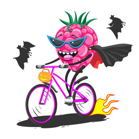 Cartoon raspberry in sunglasses raincoat bat on bike rides Halloween