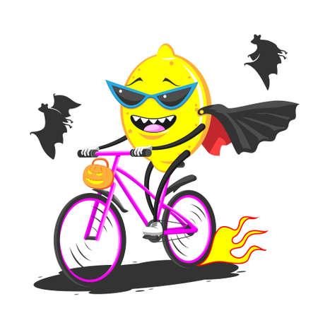 Cartoon lemon in sunglasses raincoat bat on bike rides Halloween Stock Illustratie