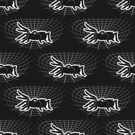 Seamless spider web pattern on black background. Vector image