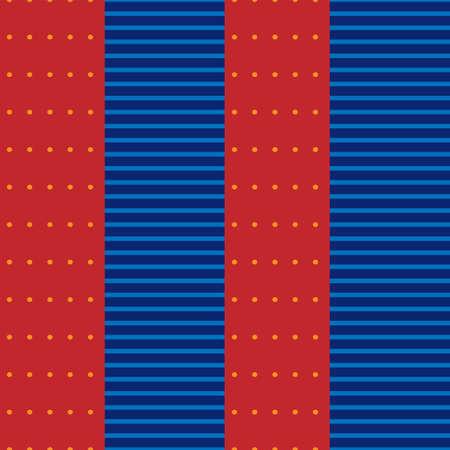 Seamless dot stripe pattern red blue. Vector image