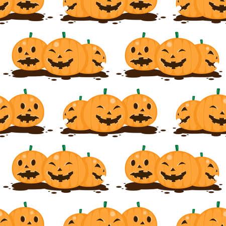 seamless Halloween pumpkin pattern on white background.