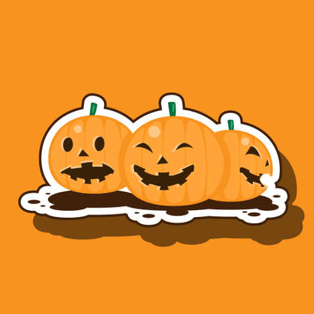 Halloween pumpkin outline on orange isolated background. Vector image eps