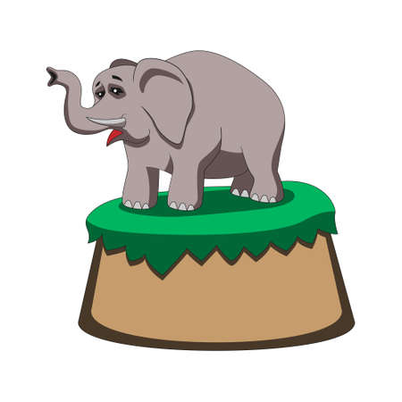 cartoon elephant holds its trunk up while standing on a hill on a white isolated background. Vector image