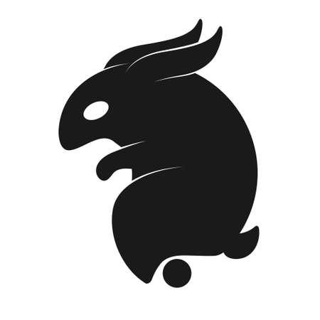 logo silhouette rabbit stylized simple shape on white isolated background Vector image Stock Illustratie