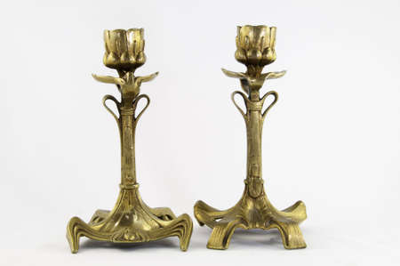 These Antique French Art Nouveau Bronze Candlesticks Vase 19c, Were hand made in France .The bases are wide and carrying decorations .