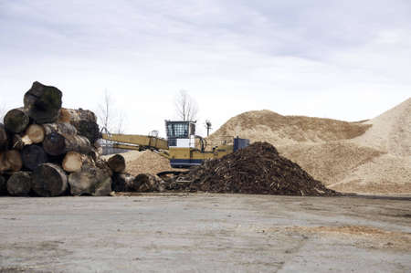 Wood chips in the mill yard with logs and loader near by this was taken on an over cast day.