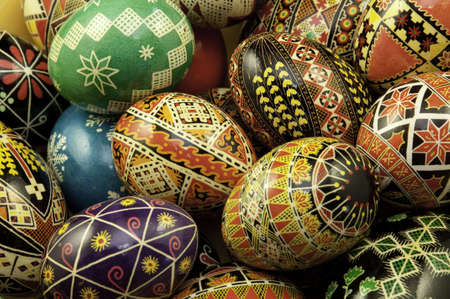 tradition: Grouped pysanky eggs with traditional design on them.