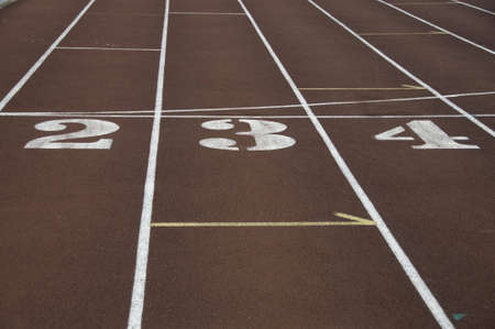 Numbers for the track and field lanes in stadium.