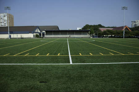 yardline: Center field and the grand stand in the background.