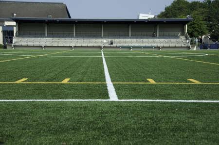 yardline: Ground level of the center line in the stadium. Stock Photo