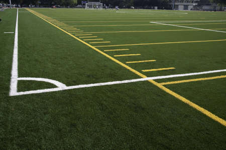 yardline: White lines that mark the corner of the filed.