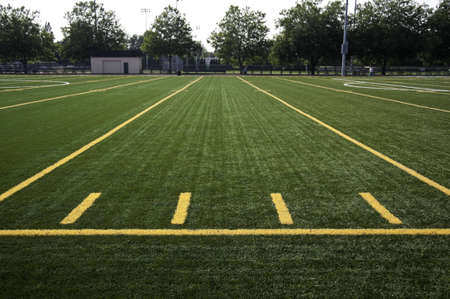 yardline: Lines on a field in a stadium. Stock Photo