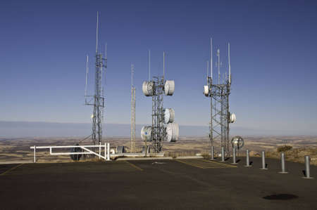 Radio and Microwave towers on top of Steppe Butte in Washington 3100 feet above sea level. Stock Photo