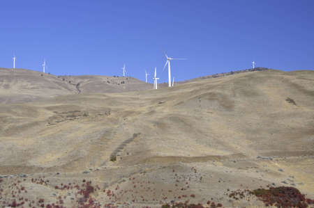 Wind turbines on the hill top along the Columbia gorge.