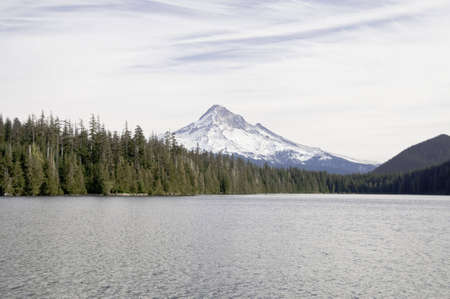 Close up view of mount hood from lost lake . photo
