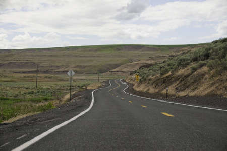 Curves in the road in the back country of palouse. Stock Photo