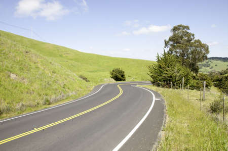 Paved country road along the california coast.