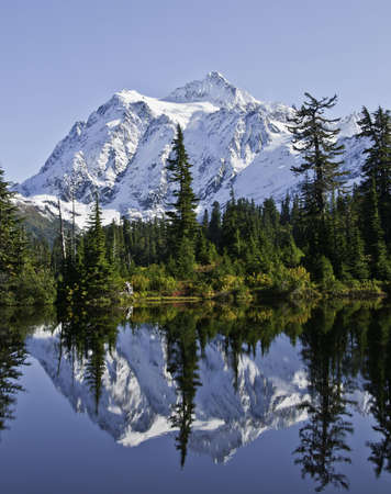Mount baker reflected into picture lake.The fall leaves are just turning color.