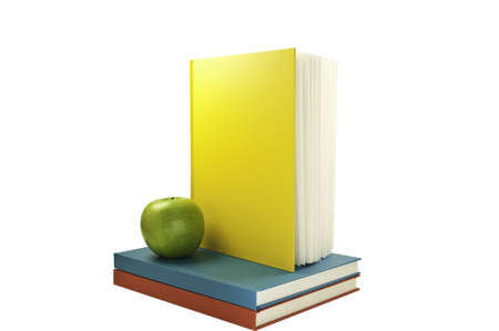 Vertical book on top of two flat clored books.This has a clipping path.