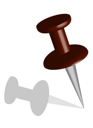 Dark red vector stick pin or push pin Illustration