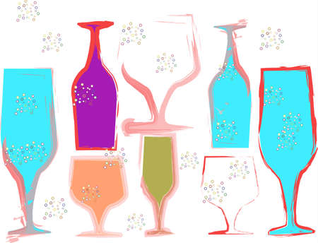 Vector color wine glass