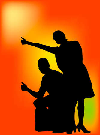 hitch hiker: Young couple hitch hiking and sitting on suit case. This is a vector silhouette with orange gradient back ground.
