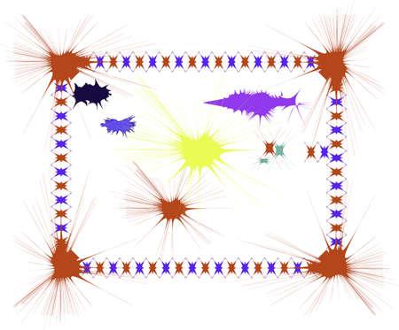 Vector ink splatters various colors and splatter border on white background  Illustration