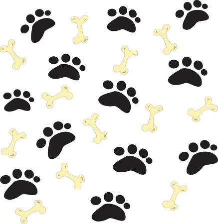 huellas de perro: Huellas de perro negro sobre un fondo blanco Foto de archivo