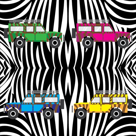 the jeep with zebra skin vector illustration