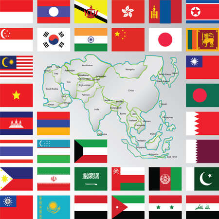 asia map and flags